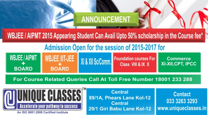UNIQUE CLASSES courses,wbjee,aipmt,jee main,commerce classes and CPT